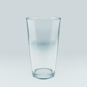 Molde realista de um copo transparente vazio. ilustração 3d.