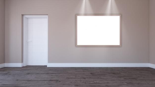 Moldura 3d em branco em um quarto vazio