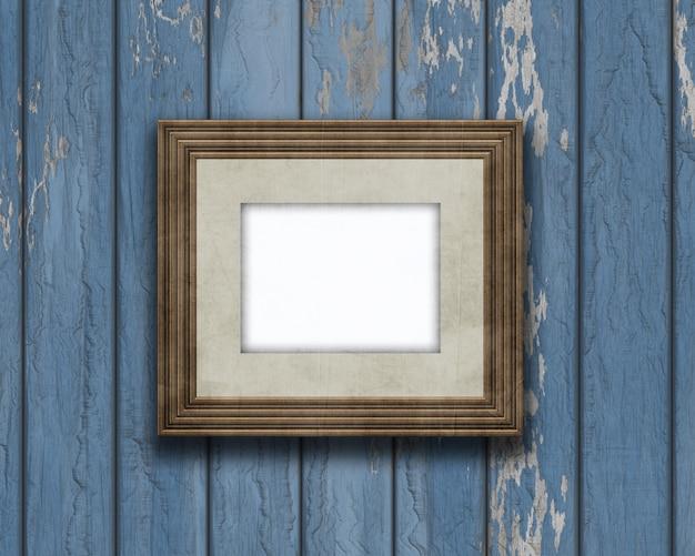 Moldura 3d em branco vintage em uma parede de madeira velha