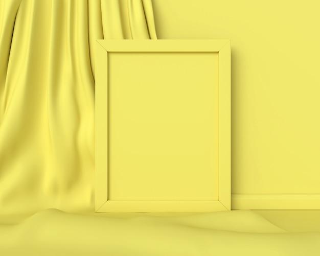 Moldura amarela em um tecido amarelo. 3d render.