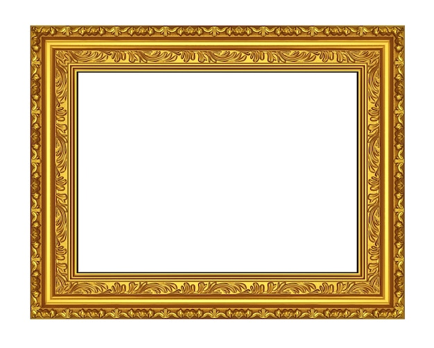 Moldura antiga de ouro sobre fundo branco