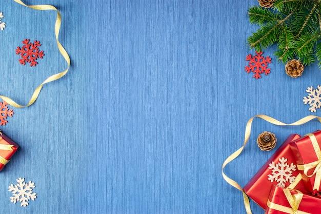 Moldura azul de férias de natal