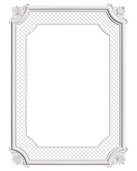 Moldura branca de moldagem clássica com decoração de ornamento isolada