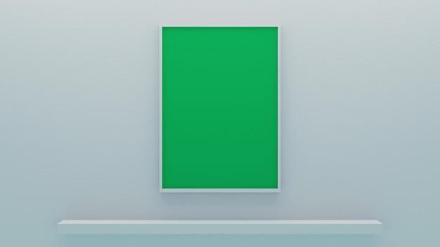Moldura branca minimalista em branco retrato maquete de tela verde com fundo de parede branco brilhante 3d render