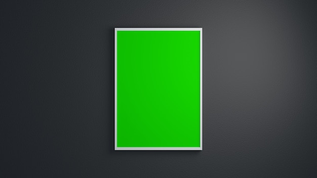 Moldura branca minimalista em branco retrato maquete de tela verde com parede escura de fundo 3d render