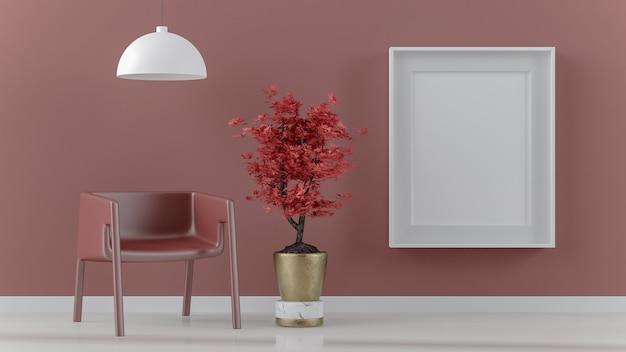 Moldura branca simulada na sala vermelha com bonsai, lâmpada e poltrona interior renderização em 3d