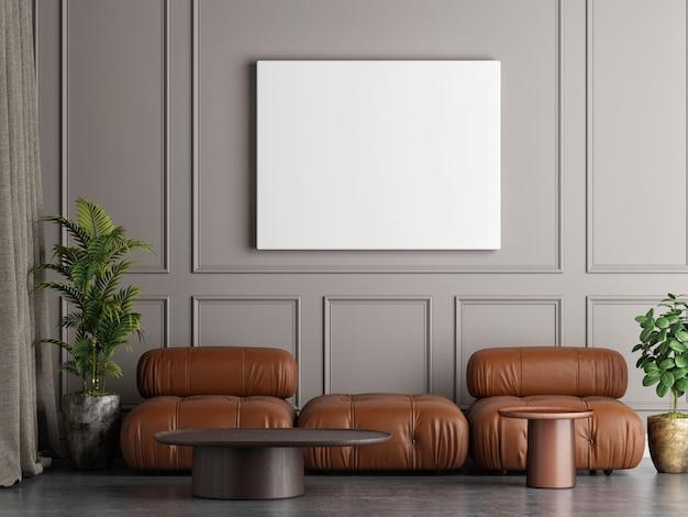 Moldura branca vazia na sala de estar com composição de sofá de couro