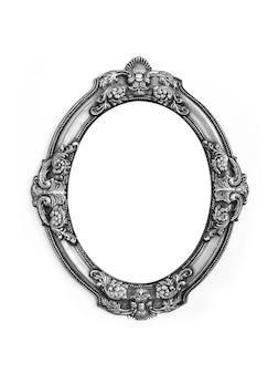 Moldura cinza de metal oval isolada