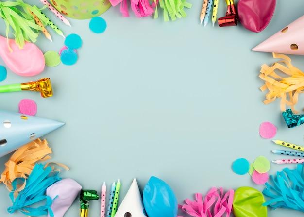 Moldura circular de enfeites de festa
