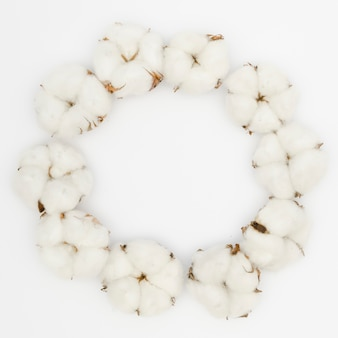Moldura circular de vista superior com flor de algodão branco