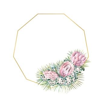 Moldura com flores de protea, folhas tropicais, folhas de palmeira, flores de bouvardia