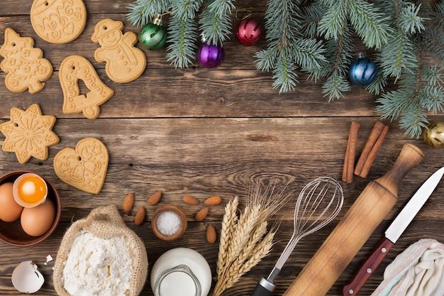 Moldura com ingredientes e decoração de natal