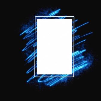 Moldura com mão brilhante azul desenhar luz