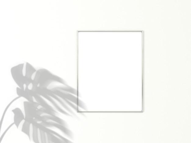Moldura cromada vertical para foto ou imagem. renderização em 3d.