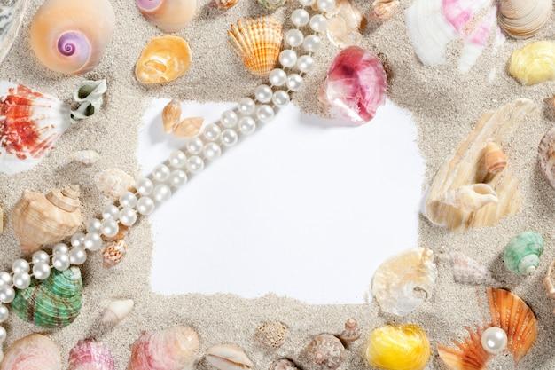 Moldura de borda verão praia shell colar de pérolas