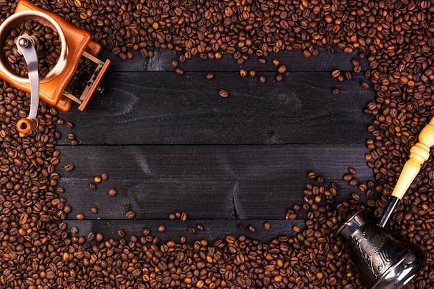 Moldura de café, vista superior com espaço de cópia