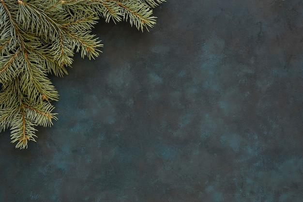 Moldura de canto de agulhas de pinheiro copiar espaço