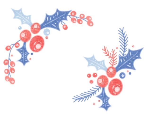 Moldura de canto de azevinho vintage em aquarela com ilustração aconchegante de natal isolada no fundo branco