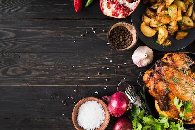 Moldura de comida deliciosa de ação de graças