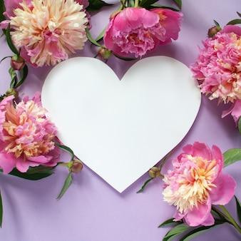 Moldura de coração peônias rosa sobre fundo roxo