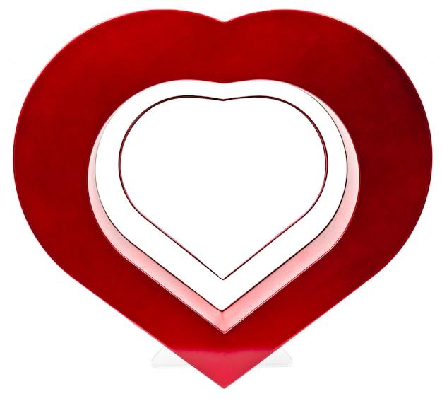 Moldura de coração vermelho, em pé reta isolada