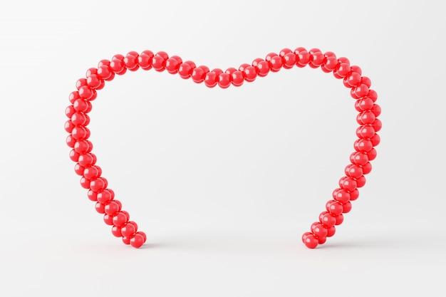 Moldura de coração vermelho ou display para evento de casamento isolado no fundo branco com feliz dia dos namorados. renderização em 3d.