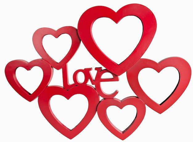 Moldura de corações vermelhos, em pé em linha reta