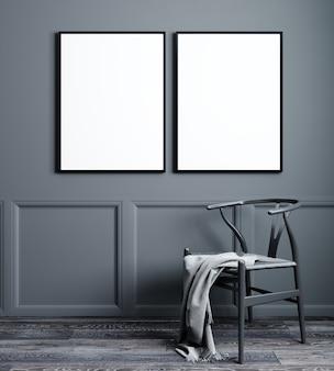 Moldura de dois pôster em branco simulada no interior da sala de estar em estilo escandinavo, renderização em 3d