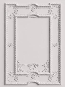 Moldura de espelho clássico branco na parede branca. renderização em 3d