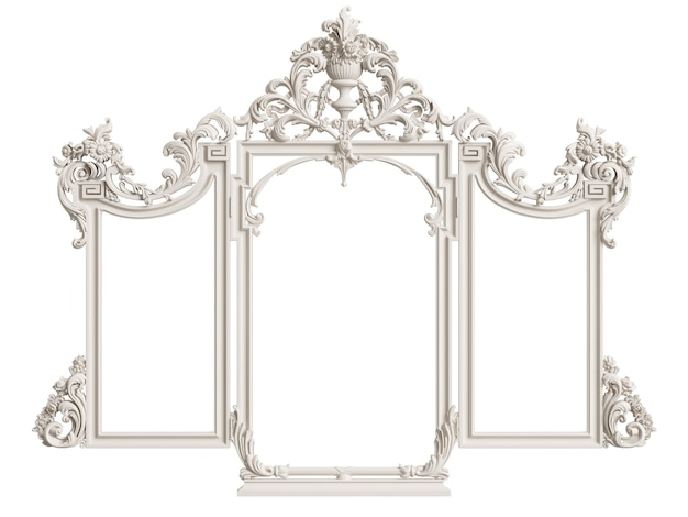 Moldura de espelho clássico isolada. renderização em 3d