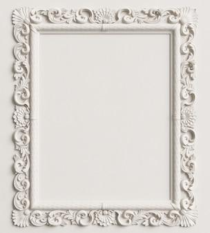 Moldura de espelho clássico na parede branca. renderização em 3d