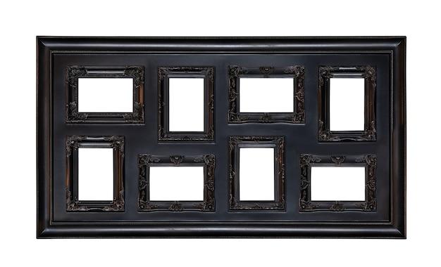Moldura de foto antiga com oito janelas isoladas em branco