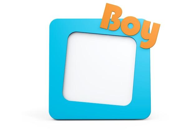 Moldura de foto azul com sinal de menino em um fundo branco