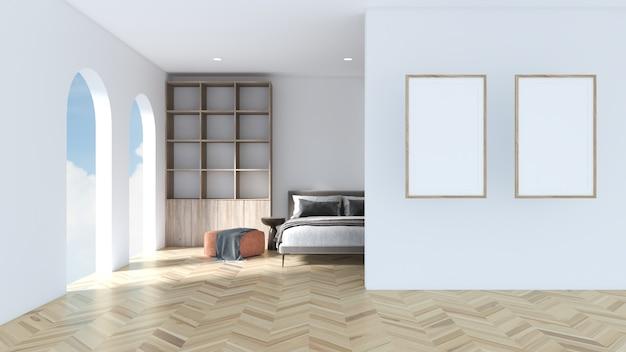 Moldura de foto branca na parede branca o quarto é decorado com uma cama, um assento e uma vitrine em piso de parquet.