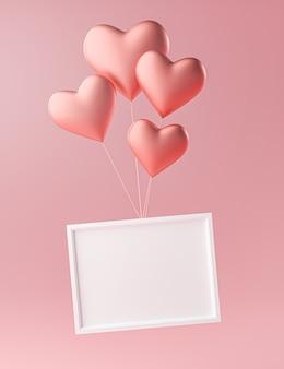 Moldura de foto voando com amor - modelo de maquete de balão de coração - renderização em 3d