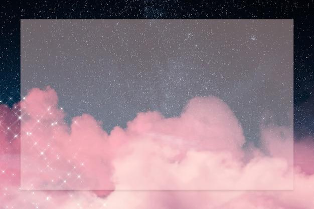 Moldura de galáxia com nuvem rosa cintilante
