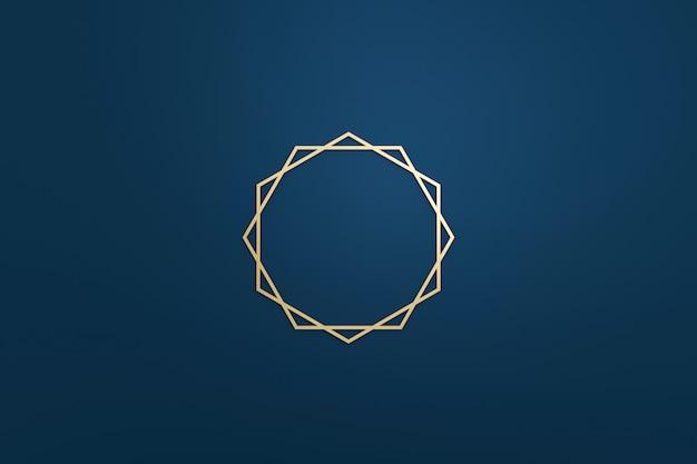 Moldura de logotipo em branco com estilo moderno em fundo azul escuro. modelo vazio para a forma do emblema e diamante do projeto. renderização em 3d.