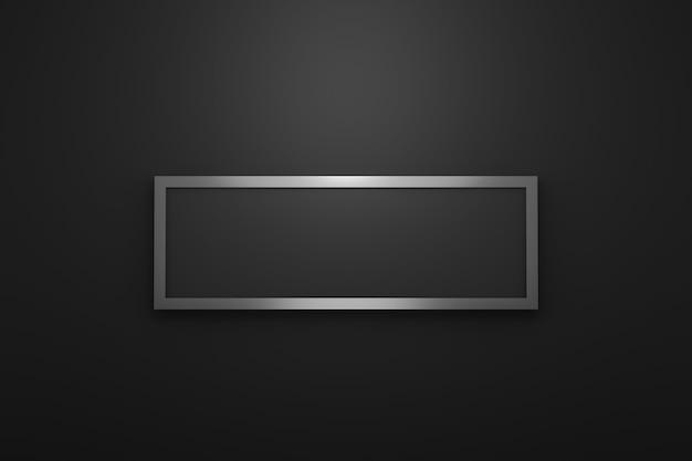 Moldura de logotipo em branco com estilo moderno em fundo preto. modelo de prata vazio para emblema de design e forma quadrada longa. renderização em 3d.