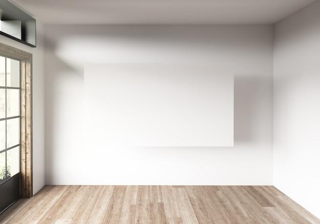 Moldura de lona horizontal em uma sala com grandes janelas.