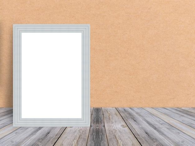 Moldura de madeira branca em branco