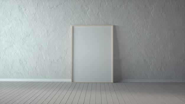 Moldura de madeira com poster mockup em pé no chão branco.