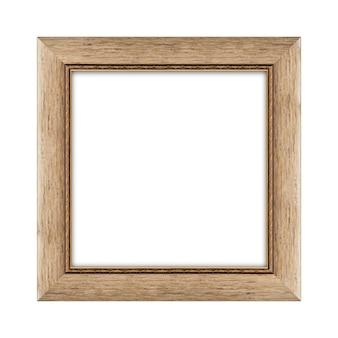 Moldura de madeira para foto ou foto isolada em um fundo branco com traçado de recorte