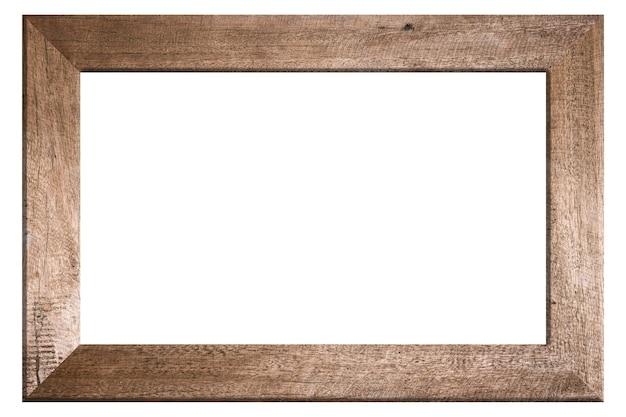 Moldura de madeira velha em fundo branco
