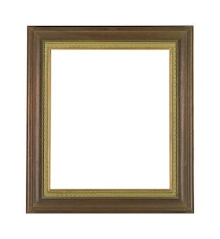Moldura de madeira vintage para pintura ou quadro isolado em uma parede branca