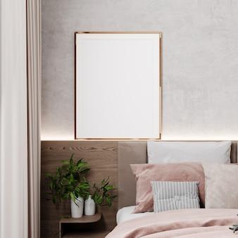 Moldura de maquete no interior bege do quarto, moldura dourada na cama de madeira, estilo escandinavo, renderização 3d