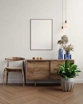 Moldura de maquete no interior da sala de estar, estilo escandinavo, renderização em 3d
