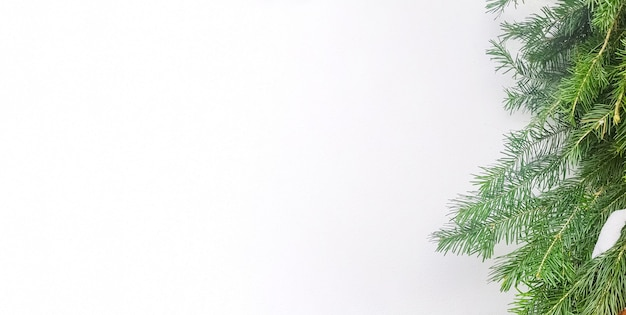 Moldura de natal com galhos de árvores de natal em um banner horizontal branco, uma cópia do espaço