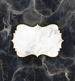 Moldura de ouro e mármore em um fundo de textura de mármore escuro