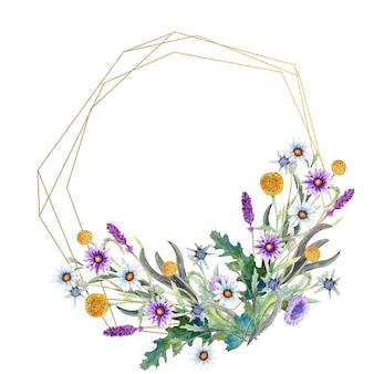 Moldura de ouro poligonal com aquarela flores silvestres