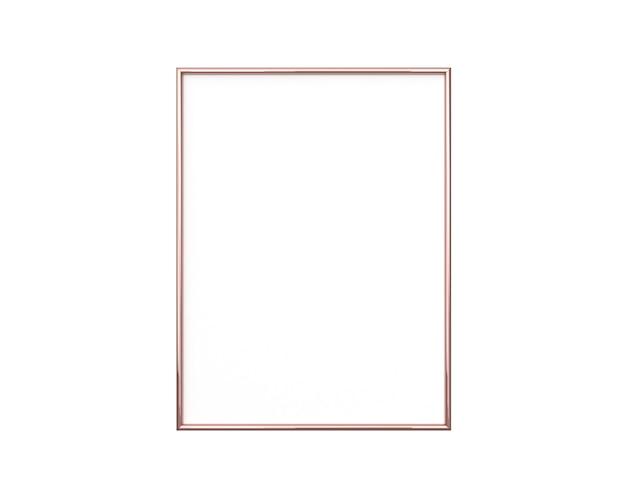 Moldura de ouro rosa em fundo branco